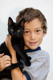 A boy and his pet royalty free stock image