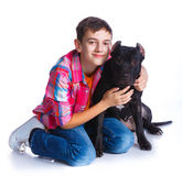 Boy with his Pit Bull Terrier Stock Photos
