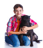 Boy with his Pit Bull Terrier Stock Image