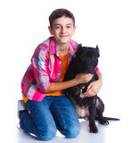 Boy with his Pit Bull Terrier Royalty Free Stock Images