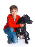 Boy with his Pit Bull Terrier Royalty Free Stock Photography