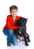 Boy with his Pit Bull Terrier Royalty Free Stock Image