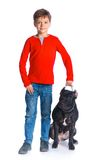Boy with his Pit Bull Terrier Stock Photography
