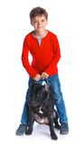 Boy with his Pit Bull Terrier Royalty Free Stock Photos