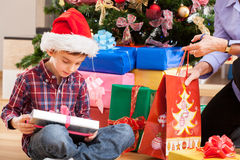 Boy and his present Stock Images