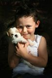 Boy & his Puppy Stock Photo