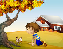 A boy and his puppy under the tree. Illustration of a boy and his puppy under the tree Stock Photography