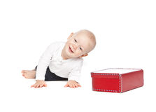 A boy and his red lunchbox Royalty Free Stock Photo