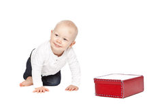 A boy and his red lunchbox Royalty Free Stock Images