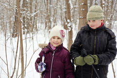 Boy and his sister stand in winter park with ski poles Royalty Free Stock Image