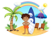 A boy and his surfing board at the beach. Illustration of a boy and his surfing board at the beach on a white background Stock Images
