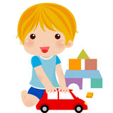 Boy with his toys. Illustration of boy with his toys Royalty Free Stock Image