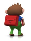 Boy on his way to school. Cute brownhaired boy with a satchel on his back and a book under his arm walking to school - 3d rendering/illustration Royalty Free Stock Images