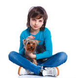 Boy with his Yorkshire terrier Stock Photos