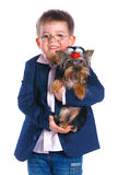Boy with his Yorkshire terrier Royalty Free Stock Photo