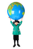 Boy in historical dress holding big globe Royalty Free Stock Photography