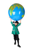 Boy in historical dress holding big globe Stock Photo