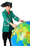 Boy in historical dress looking at big globe Stock Photography