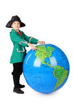 Boy in historical dress standing with big globe Stock Photos