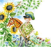 Boy with hobbyhorse. Watercolour/pastel illustration. Smiling boy in grandpa`s service cap holds hobbyhorse and toy sabre, surrounded by flowers of summer garden Stock Images