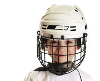 Boy in hockey helmet Stock Image