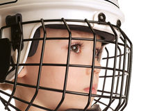 Boy in hockey helmet Royalty Free Stock Photos