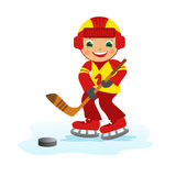 Boy hockey player Stock Photo