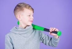 Boy hold baseball bat. Sport and hobby. Teenager boy likes baseball. Active leisure and lifestyle. Healthy childhood royalty free stock images