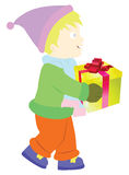 A boy hold gift box Stock Images