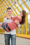 Boy hold girl Stock Images