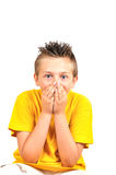 Boy hold mouth Royalty Free Stock Image