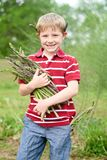 Boy holding asparagus in arms and behind ears stock photo