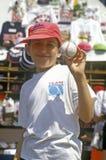 Boy Holding Autographed Baseball, Fenway Park, Boston, Massachusetts Stock Images