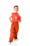 Boy holding ball. Standing isolated Stock Images