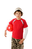 Boy holding ball Royalty Free Stock Images