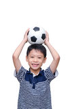 Boy holding ball over white Royalty Free Stock Images