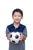 Boy holding ball over white Royalty Free Stock Photo