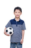 Boy holding ball over white Stock Image