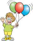 Boy holding balloons Royalty Free Stock Images