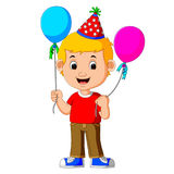 Boy holding balloons. Illustration of boy holding balloons Royalty Free Stock Image