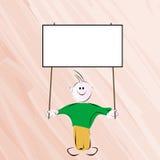 Boy holding banner. Little boy holding an empty editable banner Stock Image