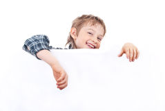 Boy holding a banner Stock Photography