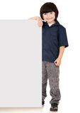 Boy holding a banner Royalty Free Stock Image