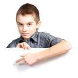 Boy holding banner Stock Images