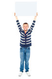 Boy holding banner ad above his head Royalty Free Stock Image
