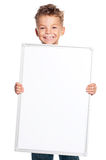 Boy holding banner Stock Image