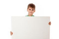 Boy holding a banner Stock Images