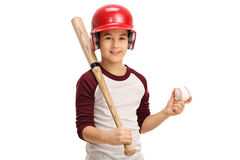 Boy holding a baseball and a bat. Isolated on white background Stock Images