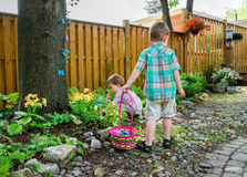 Boy Holding a Basket Full of Easter Eggs Stock Images