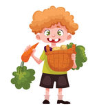 Boy holding baskets of fruits and vegetable Stock Photo